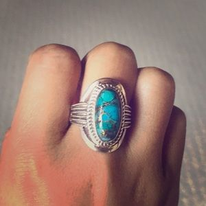 Jewelry - Sterling silver turquoise large ring new beautiful